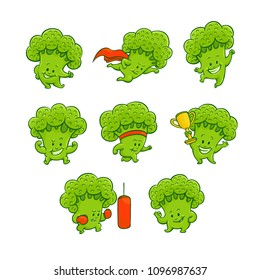 Cheerful broccoli characters set. Funny green sportive vegetables collection, cute healthy organic food full of vitamins. Cartoon smiling hand drawn plant with arms, legs. Vector illustration
