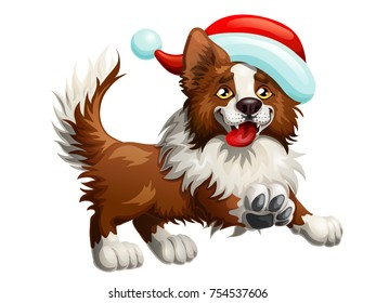 The cheerful brown puppy of a Border Collie and red cap. A yellow dog a symbol 2018 new years according to the Chinese calendar. A cartoon vector illustration isolated on white.