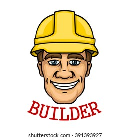 Cheerful builder worker with a yellow hard hat and text Builder below. Use as building industry occupation, construction business and technology theme design