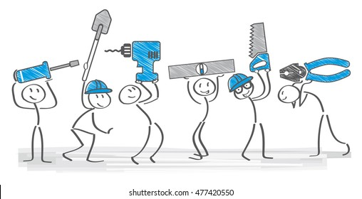 cheerful builders holding tools - vector illustration