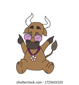 A cheerful bull with glasses and a flower pendant.Sticker, vector children's design for banners, postcards and social networks.