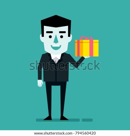Cheerful Businessman Holds Gift Box Birthday Celebration Christmas Valentines Day Holiday Flat Style Vector Illustration