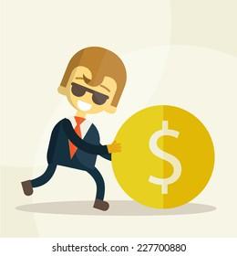 cheerful businessman rolls coin, money vector illustration eps 10