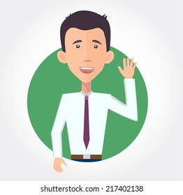 cheerful businessman waving hello - flat design vector