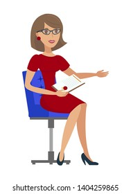 Cheerful Businesswoman Flat Vector illustration. Smiling Woman Sitting in Chair Cartoon Character. Young Advocate, bank Employee in Dress Holding Contract. Female Jurist, Psychologist Service