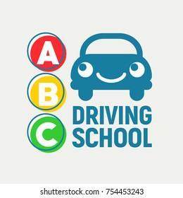 Cheerful car and traffic light. Driving School. Logo design. Vector illustration.