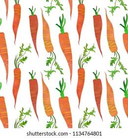 Cheerful carrots. Seamless pattern tile. Cartoon illustration. Watercolour imitation.