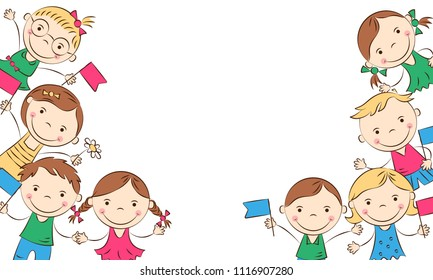 Cheerful cartoon children with colored flags. Happy boys and girls. Holidays, vacations, weekends. Place for your text. Vector illustration