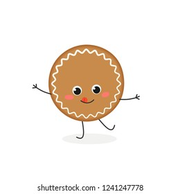 Cheerful cartoon gingerbread cookie character. Vector flat illustration isolated on white background