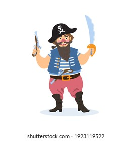 Cheerful cartoon pirate, the captain holds a saber and a pistol. He has a pipe in his mouth, and a hat with a skull on his head.