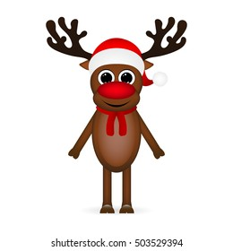 Cheerful cartoon reindeer on a white background, vector illustra