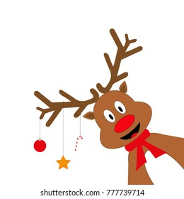 Cheerful cartoon reindeer on a white background