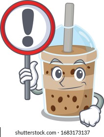 Cheerful cartoon style of chocolate bubble tea holding a sign