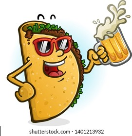 A cheerful cartoon taco character partying with a mug of mexican beer