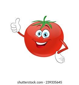 Cheerful cartoon tomato  on a white background
