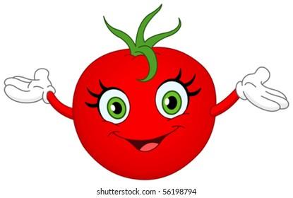 Cheerful cartoon tomato raising her hands