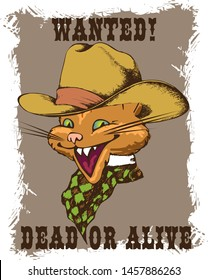 Cheerful cat - a gangster from the Wild West. Suitable for posters, cards, tattoo. Vector illustration. Engraving style