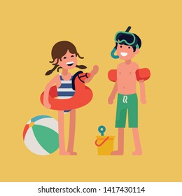 Cheerful caucasian kids ready to have fun on summer beach. Seaside vacation themed illustration with small children standing full length wearing swimsuits and waterside activities items