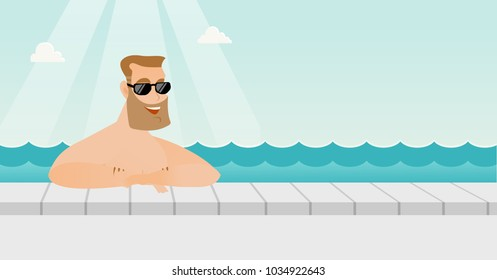 Cheerful caucasian white man relaxing in the swimming pool at resort. Happy smiling man in sunglasses bathing in the swimming pool. Vector cartoon illustration. Horizontal layout.