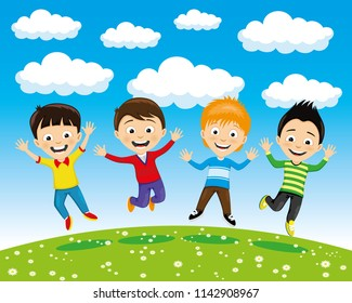 Cheerful children in a jump on summer nature.