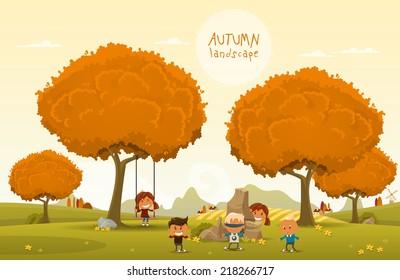 Cheerful children play outdoors. Vector illustration of Autumn theme