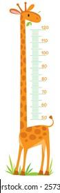 Cheerful children's giraffe meter wall from 50 to 120 centimeter