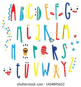 Cheerful children's multicolored alphabet with patterns and funny faces, vector Latin letters