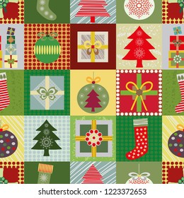 Cheerful Christmas patchwork style seamless vector with multicolor presents, Christmas tree, baubles and Christmas stockings. Great for giftwrap, scrapbooking, quilting and commercial projects