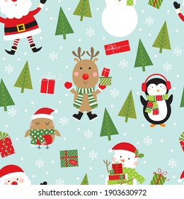 cheerful christmas seamless pattern with santa, reindeer, penguin and snowman design