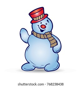 Cheerful christmas snowman in hat and scarf, cartoon on white background, vector