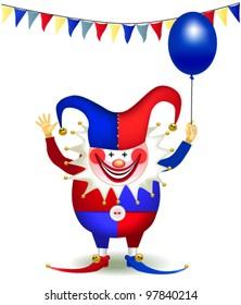 cheerful clown with a balloon