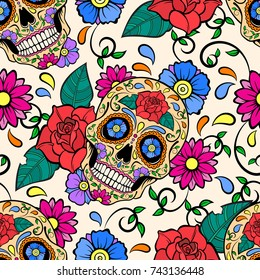 Cheerful colored background with sugar skulls and roses. Day of the dead. Seamless vector pattern.