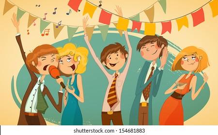 Cheerful corporate party. Karaoke, songs, dancing people.
