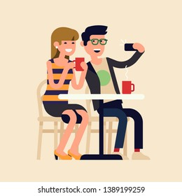Cheerful couple doing selfie in a cafe. Flat vector illustration of two friends meeting in cafe, making photo together with a smartphone