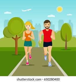 Cheerful couple friends running in park. Vector flat illustration