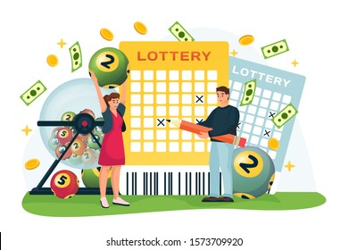 Cheerful couple wins money in bingo lottery. Vector flat cartoon illustration, isolated on white background. Casino or gambling games concept. Man and woman cross out numbers in lottery ticket