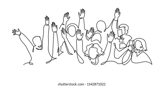 Cheerful crowd cheering illustration. Hands up. Group of applause people continuous one line vector drawing. Audience silhouette hand drawn characters. Women and men standing at concert, meeting.