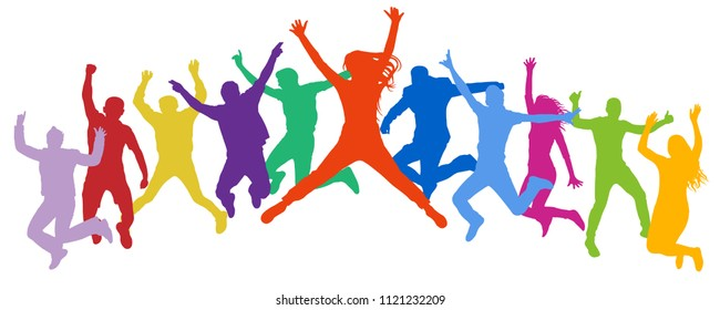 Cheerful crowd jumping people. Friends leap, bounce young teenagers, trampoline. Happy youth company. Multicolor vector silhouette