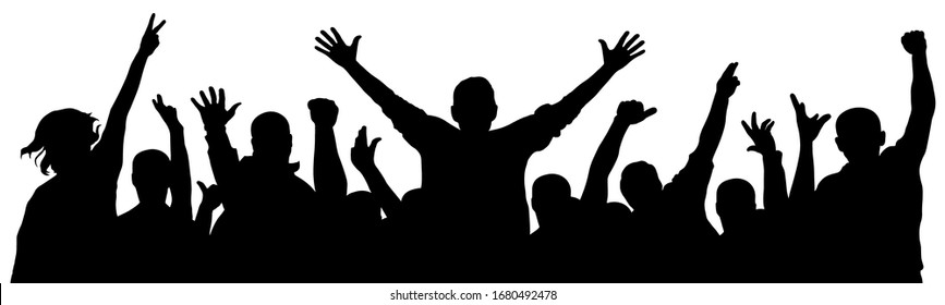 Cheerful crowd of people cheering applause. Fan happy people. Party disco concert sport. Silhouette vector illustration