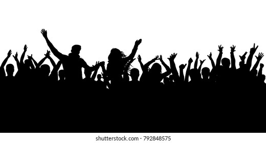 Cheerful crowd silhouette background. Party people, applaud. Fans dance concert, disco.
