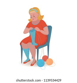 Cheerful cute blonde girl is knitting socks. Vector isolated illustration with texture in cartoon style.