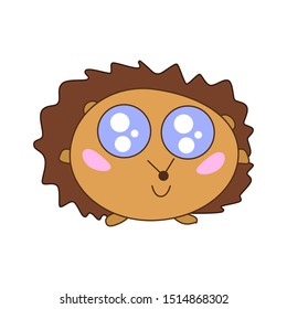 A cheerful cute kawaii hedgehog with big open eyes and thorns is smiling. Flat vector icon, logo, sticker of forest animal. Cute prickly pet with needles. Childish illustration with cartoon character.