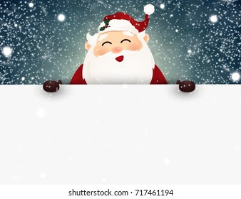 Cheerful, cute smiling Santa Claus with falling snow, snowflakes standing behind a big signboard, advertisement banner.  vector illustration.