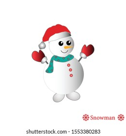 Cheerful dancing snowman in hat, scarf and gloves, vector