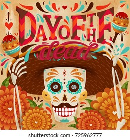 Cheerful day of the dead poster, a skeleton holding maracas with smiley expression, marigold elements