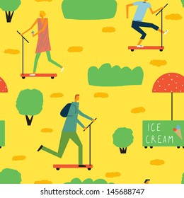 Cheerful day off in the park. Vector seamless background