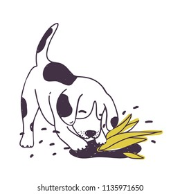 Cheerful dog digging ground near cultivated plant. Amusing naughty puppy or doggy isolated on white background. Disobedient behavior of domestic animal. Colorful hand drawn vector illustration