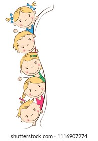 Cheerful doodle kids. Happy cartoon boys and girls. Holidays, vacations, weekends. Place for your text. Vector illustration