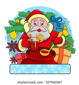 Cheerful drunk Santa Claus standing near a Christmas tree on which grow Lemon and treats all intoxicating drink called mulled wine