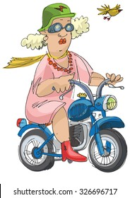 cheerful elderly person riding on a scooter - cartoon